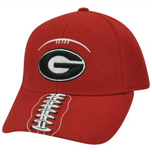 NCAA Georgia Bulldogs Curved Bill Adjustable Velcro Football Stitch Red Hat Cap