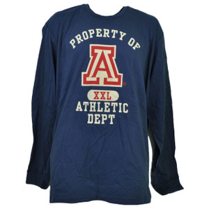 NCAA Arizona Wildcats Long Sleeve Tshirt Tee Mens 3XLarge Crew Neck Blue Sports