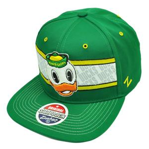 NCAA Zephyr Oregon Ducks Epic Snapback Flat Bill Hat Cap Green Sports Adjustable