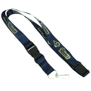 NFL St Louis Rams Bottle Key Chain Landyard Blue Badge Holder Detachable Clip
