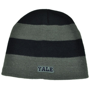 NCAA Yale Bulldogs Striped Knit Beanie Navy Blue Gray Toque Hat Cuffless Skully