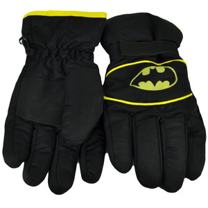 Batman Ski Gloves Winter One Size Super Hero DC Comics Warner Bros Black Yellow