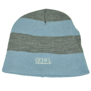 NCAA Yale Bulldogs Striped Knit Beanie Baby Blue Gray Toque Hat Cuffless Skully