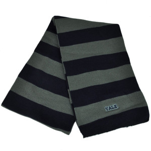NCAA Yale Bulldogs Striped Scarf Womens Ladies Gray Navy Blue Winter Two Tone