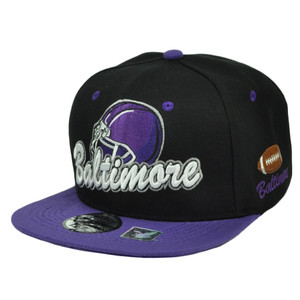 Baltimore Maryland City Town State Helmet Black Purple Snapback Flat Bill Hat