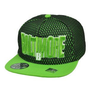 Baltimore Maryland City Town State Black Green Snapback Flat Bill Hat Jersey Mesh