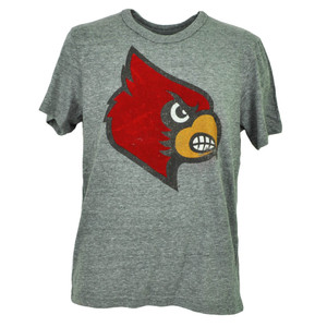 NCAA Louisville Cardinals Felt Logo Tshirt Tee Short Sleeve Mens Gray Sports