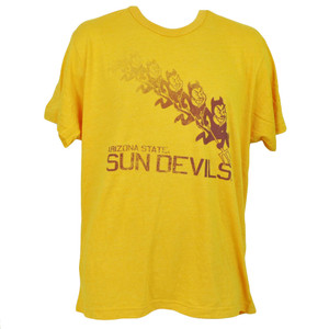NCAA Arizona Sun Devils Tshirt Tee Yellow Short Sleeve Mens Repeat Logo Crew