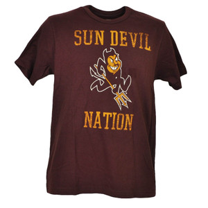 NCAA Arizona Sun Devils Devil Nation Tshirt Tee Burgundy Mens Distressed