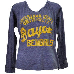 NCAA Louisiana State Tigers LSU Bayou Bengals Womens Purple Long Sleeve Tshirt