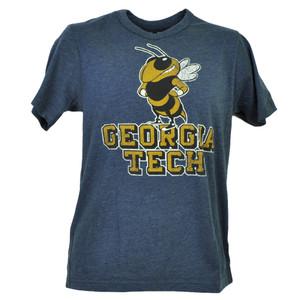 NCAA Georgia Tech Yellow Jackets Blue Mens Short Sleeve Tshirt Tee Crew Neck