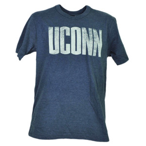 NCAA UConn Huskies Connecticut Blue Short Sleeve Tshirt Tee Distressed Mens