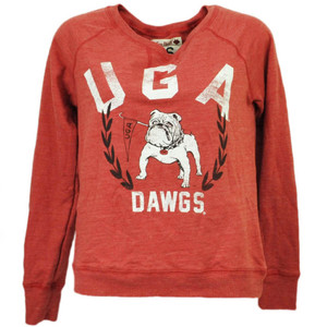 NCAA Georgia Bulldogs Distressed Long Sleeve Reds Pullover UGA Dawgs Womens