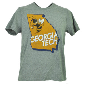 NCAA Georgia Tech Yellow Jackets Gray Mens Tshirt Tee Short Sleeve State Map