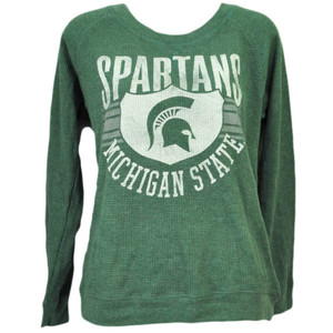 NCAA Michigan State Spartans Green Long Sleeve Pull Over Tshirt Womens Sports