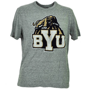NCAA Brigham Young Cougars Felt Logo Gray Short Sleeve Mens Crew Neck Sports BYU