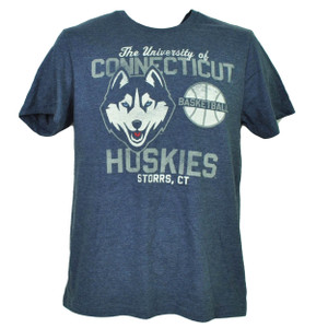NCAA UConn Huskies Connecticut Blue Basketball Tshirt Tee Mens Crew Neck Storrs