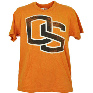 NCAA Oregon State Beavers Orange Short Sleeve Tshirt Tee Mens Adult Distressed