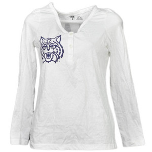 NCAA Arizona Wildcats White Womens Long Sleeve Tshirt Button Henley Bear Down