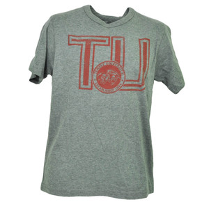 NCAA Temple Owls Crest Gray Short Sleeve Tshirt Tee Crew Neck Mens Distressed