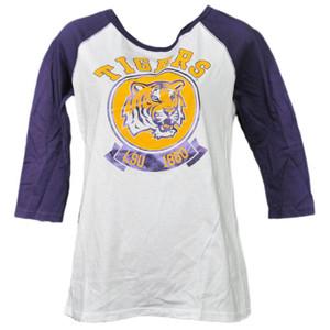 NCAA Louisiana State Tiger LSU 1860 Foil Logo Mid Sleeve Tshirt Tee Womens