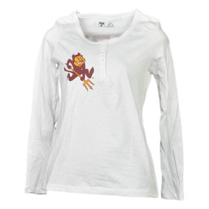 NCAA Arizona Sun Devils White Womens Long Sleeve Tshirt Henley Fork'em Devils
