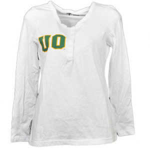 NCAA Oregon Ducks White Womens Adult Long Sleeve Tshirt Button Crew Neck Henley