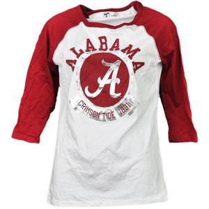 NCAA Alabama Crimson Tide 1831 Foil Logo Mid Sleeve Tshirt Tee Womens Adult