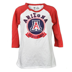 NCAA Arizona Wildcats 1885 Foil Logo Mid Sleeve Tshirt Tee Womens Adult Red