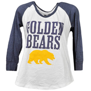 NCAA California Golden Bears Mid Sleeve Tshirt Tee Womens White Blue Crew Neck