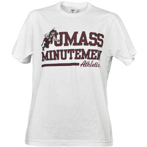 NCAA UMass Minutemen Massachusetts White Underline Logo Tshirt Tee Short Sleeve