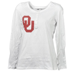 NCAA Oklahoma Sooners Womens Adult Long Sleeve Tshirt Button Crew Neck Henley