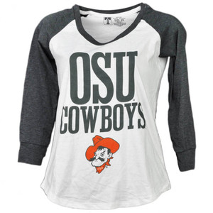NCAA Oklahoma State Cowboys Mid Sleeve Tshirt Tee Womens White Crew Neck Sports