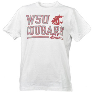 NCAA Washington State Cougars White Underline Logo Mens Tshirt Tee Short Sleeve