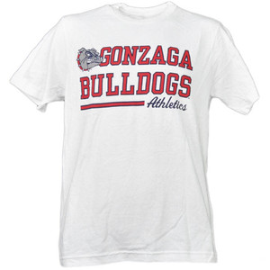 NCAA Gonzaga Bulldogs White Underline Logo Mens Tshirt Tee Short Sleeve Sports