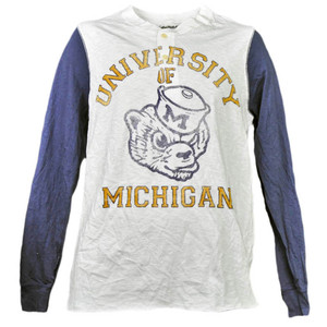 NCAA Michigan Wolverines Distressed Long Sleeve Mens Button Crew Neck Sports