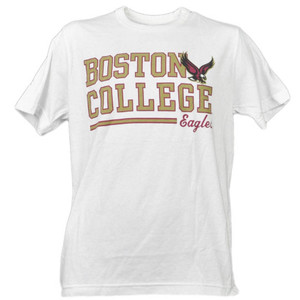 NCAA Boston College Eagles White Underline Logo Mens Tshirt Tee Short Sleeve