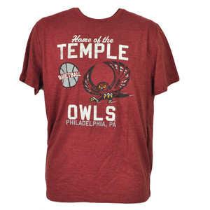 NCAA Temple Owls Basketball Burgundy Tshirt Tee Philadelphia PA Mens Adult Sport