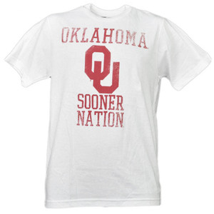 NCAA Oklahoma Sooners Nation White Distressed Tshirt Tee Mens Short Sleeve Adult