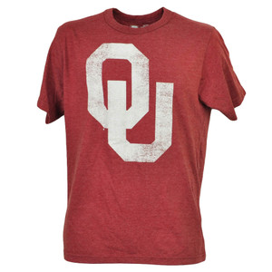 NCAA Oklahoma Sooners Distressed Logo Short Sleeve Burgundy Tshirt Tee Mens