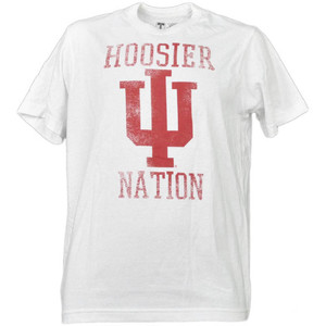 NCAA Indiana Hoosiers Nation White Distressed Tshirt Tee Mens Short Sleeve Adult
