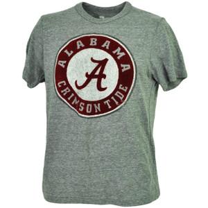 NCAA Alabama Crimson Tide Felt Logo Gray Tshirt Tee Mens Short Sleeve Crew Neck