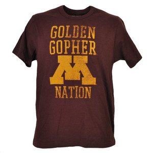 NCAA Minnesota Golden Gophers Nations Burgundy Tshirt Tee Short Sleeve Mens Spor