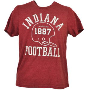 NCAA Indiana Hoosiers Helmet 1887 Football Burgundy Tshirt Tee Mens Short Sleeve