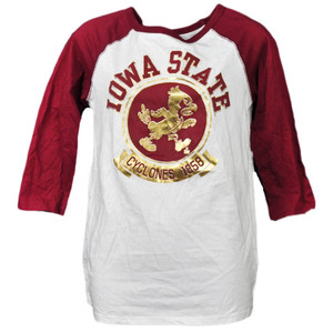 NCAA Iowa State Cyclones Foil Logo Mid Sleeve Tshirt Tee Womens Adult Sports