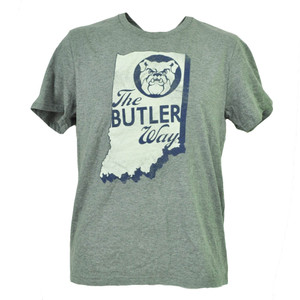 NCAA Butler Bulldogs State Map Logo Gray Tshirt Tee Mens Short Sleeve Crew Neck