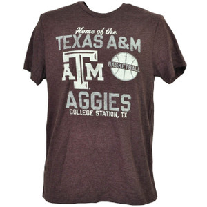 NCAA Texas A&M Aggies Basketball Burgundy Tshirt Tee Mens College Station TX