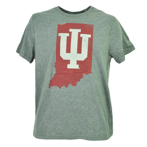 NCAA Indiana Hoosiers State Map Logo Gray Mens Tshirt Tee Short Sleeve Crew Neck