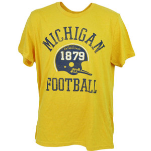 NCAA Michigan Wolverines Helmet Football Yellow Tshirt Tee Men Short Sleeve 1879