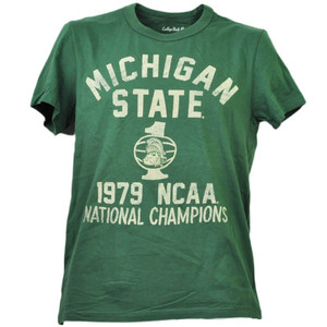 NCAA Michigan State Spartans 1979 National Champions Green Tshirt Tee Mens Sport